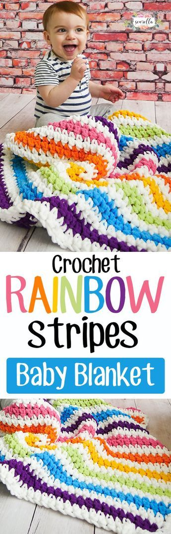 Crochet Rainbow Stripes Baby Blanket Free Pattern. You have a variety of choices here. Contains Affiliate Links.#ad