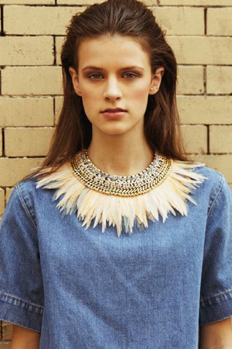 Feather and chain link bib necklace | Lizzie Fortunato Spring 2013 lookbook