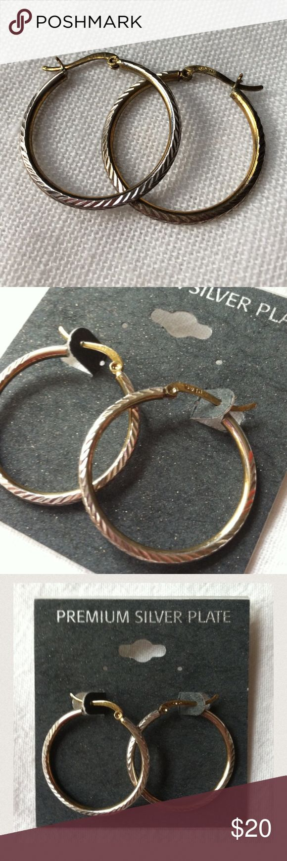 """BRAND NEW Fine Silver Plate Textured Hoop Earrings Brand: Unbranded  Condition: New with tags  MSRP: $40  Material: Premium silver plate  Size: 1.25"""" diameter  Description:  Silver plate over some sort of gold-colored metal. (The gold peeks through the silver in some spots intentionally).  📦Bundle and save💰5%! ❌Price is firm unless bundled❌ unbranded Jewelry Earrings"""
