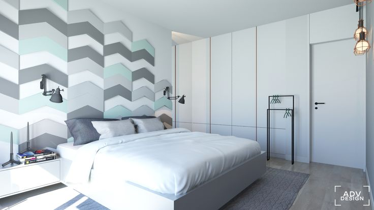 www.advdesign.pl 63m2_3  bedroom mint grey fluffo wall panels copper design house stockholm