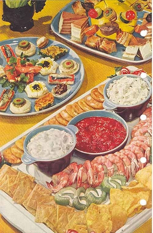 Appetizing Appetizers, Interesting Idea Of Cream Cheese And Celery Circles  | FANTASY | Vintage Party Foods, Cocktail Party Food, Food