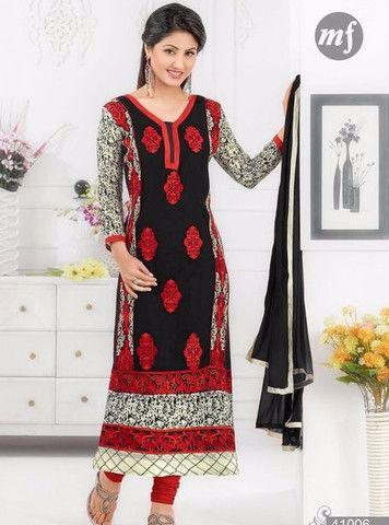 MF 41006 - Red & Black Color Georgette Designer Suit