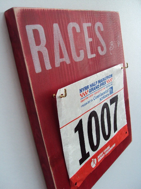 This is cool! @Tracy Rollins Thompson   Love this race bib display.