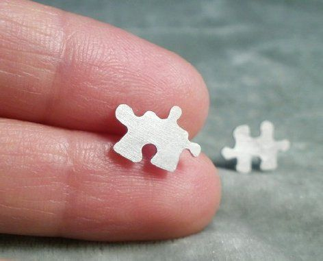 sterling silver jigsaw puzzle ear studs (1 pair), handmade in England from Huiyi Tan Handmade Designer Jewelry
