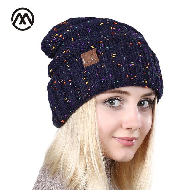 Cc cap fashion lady winter hat mixed knit hat woman Women Skullies outdoor leisure hat warm hat fashion lady gray