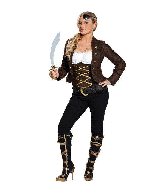Piratin Damenkostüm braun-weiss-gold, aus unserer Kategorie Piratenkostüme. Diese Freibeuterin legt großen Wert auf ihr Äußeres, selbst wenn sie auf Schatzsuche ist. Eine echte Piratenlady will eben zeigen, was sie hat! Ein sensationelles Kostüm für Fasching und Piraten Mottopartys. #Karneval