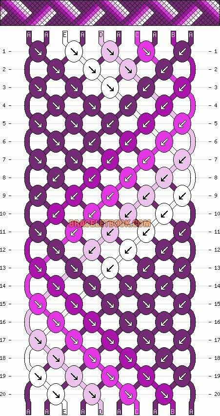 Normal Friendship Bracelet Pattern #10382 - BraceletBook.com