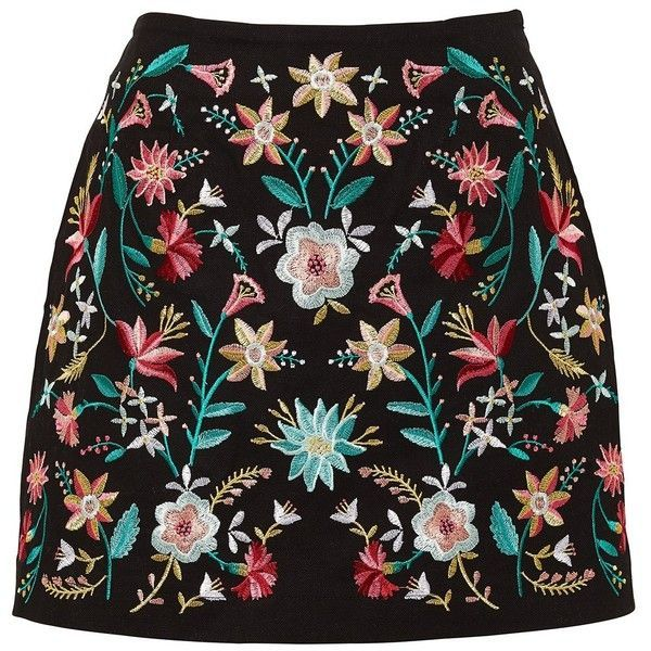 EMBROIDERED MINI SKIRT (16.005 CRC) ❤ liked on Polyvore featuring skirts, mini…
