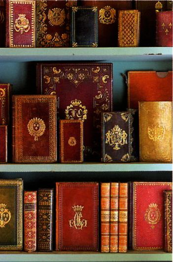 Precious Antique Leather Books with Gilded Spines, displayed by Jacques Garcia
