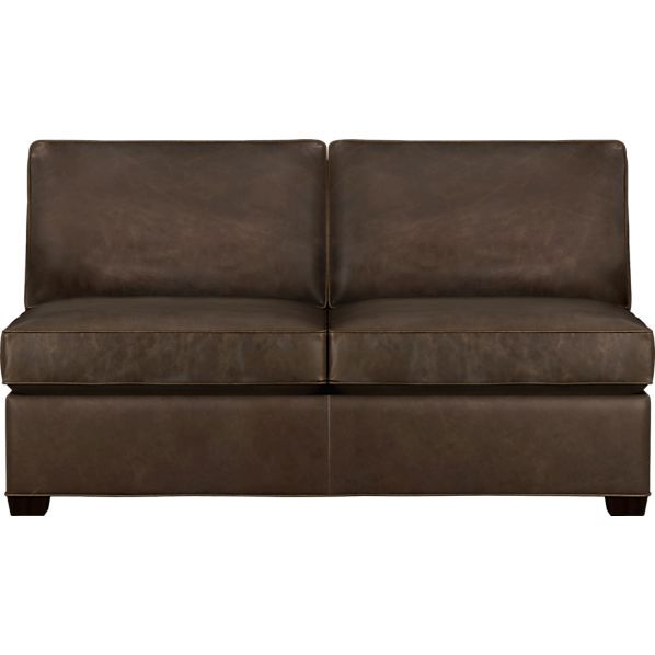 davis leather sectional armless loveseat in chairs crate and barrel