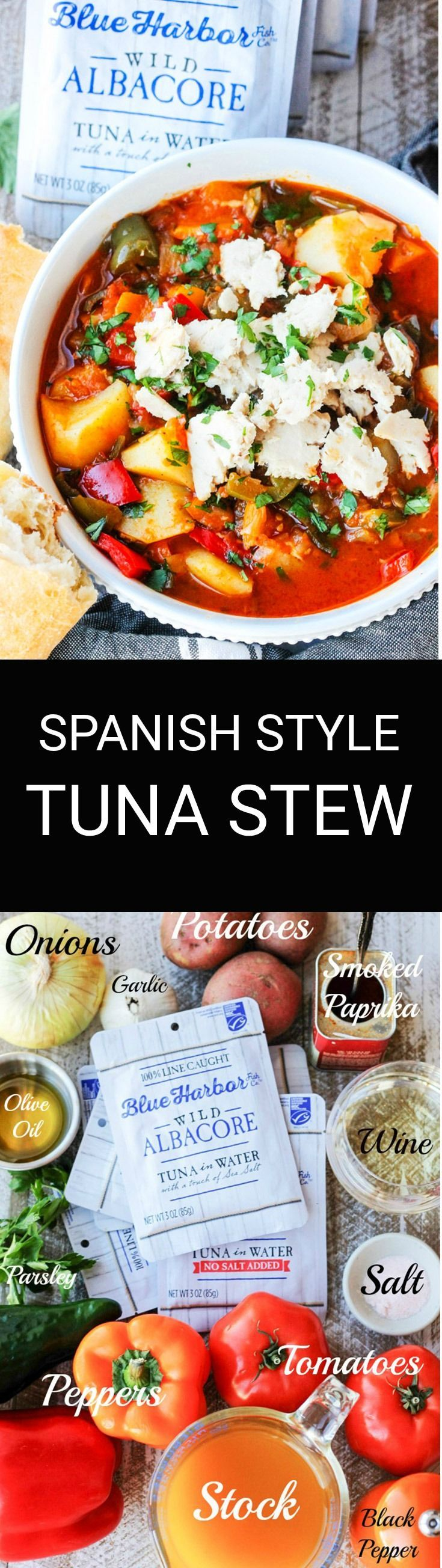 This Spanish Style Tuna Stew with Potatoes, Peppers and Tomatoes is a healthy, clean-eating type of meal that comes together in no time, and it's perfect to option during Lent. The main ingredient in this recipe is sustainably caught, premium quality Blue Harbor Albacore Tuna in Water with a touch of sea salt. AD
