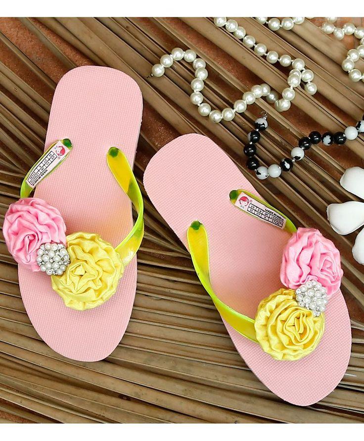 Pink Rubber Rose Flower Flip Flop  #FlipFlop #Pink #Rubber