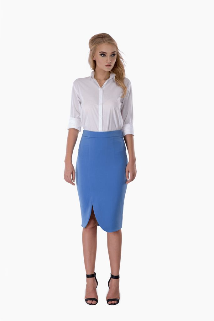 Blue Pastel Front Slit Pencil Skirt – Mojau