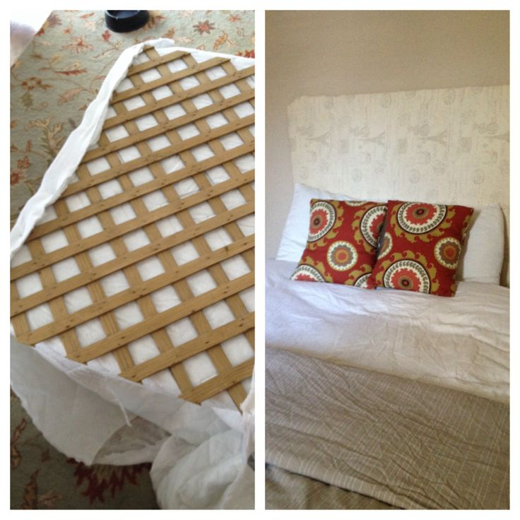 Diy headboard for cheap using lattice old mattress pad Homemade headboard ideas cheap