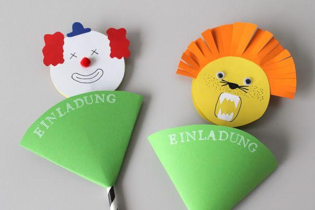 DIY Invitations kids birthday party Einladung Kindergeburtstag Zirkus