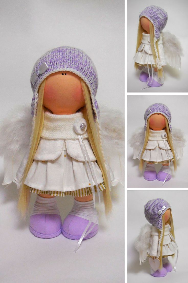 Angel Doll Christmas Fabric Doll Navidad Tilda Doll Poupée Cloth Doll Rag Doll Muñecas Purple Textile Doll Bambole Winter Doll by Maria M  Doll is 35 cm (13.7 inch) tall and made of only quality materials. This doll is made TO ORDER.  Doll can be a great present for your children, family members, colleages or friends.  Style of doll easily helps to use such doll as home decoration and interior design.  Dolls can be played with by children over 5 years old.  Be careful, dry clean only.
