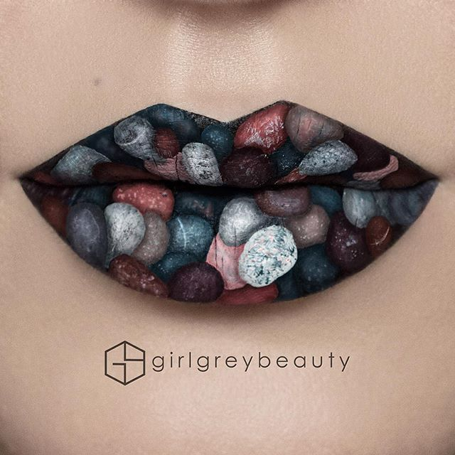 Beach Rocks #LipArt    Products used: Lots of different liquid lipsticks. @anastasiabeverlyhills (Midnight, Paint, Sad Girl, Vamp, Naked) @jeffreestarcosmetics white, @caked.co Low Key.  Brush: @smithcosmetics # 304