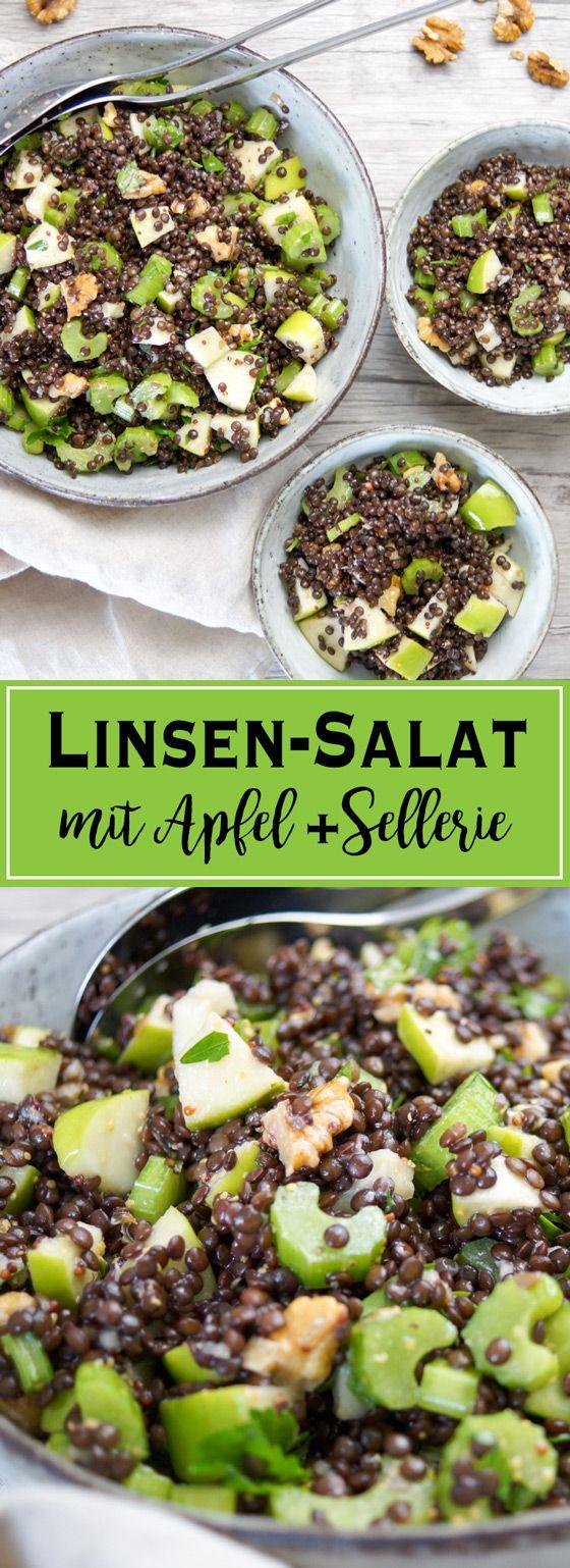 Ein einfaches Rezept für Apfel-Sellerie-Linsen-Salat. Schnell gemacht, gesund, lecker und sättigend mit Walnuss, Petersilie und einem Zitronensaft-Dressing. Elle Republic