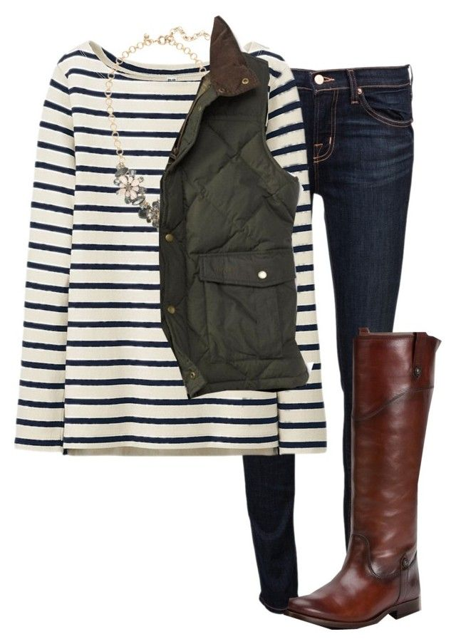 """barbour vest"" by marycoulbourn ❤ liked on Polyvore featuring J Brand, Uniqlo, J.Crew, Barbour, Frye, women's clothing, women, female, woman and misses"