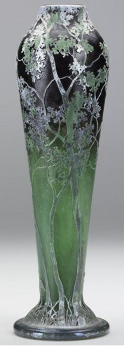 daum nancy glass tapering cameo glass vase having tall silver and green trees on an amethyst and emerald ground, 1885-1920