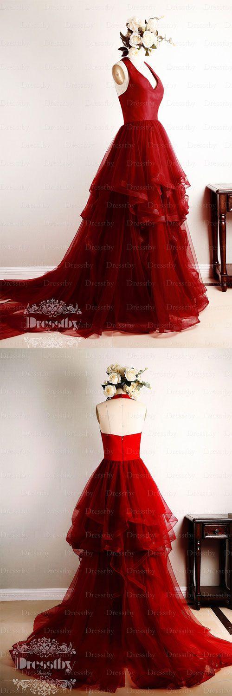 Burgundy v neck tulle long prom dress, burgundy evening dress
