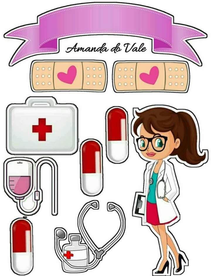 Enfermagem 1 Topper para bolos Topper de bolo, Topo de bolo personalizado e Bolo de papel -> Decoração Festa Enfermeiro