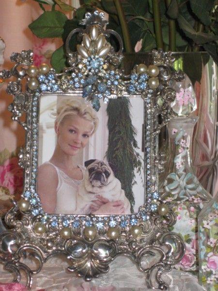 Vintage Blue Jewels & pearl Frame