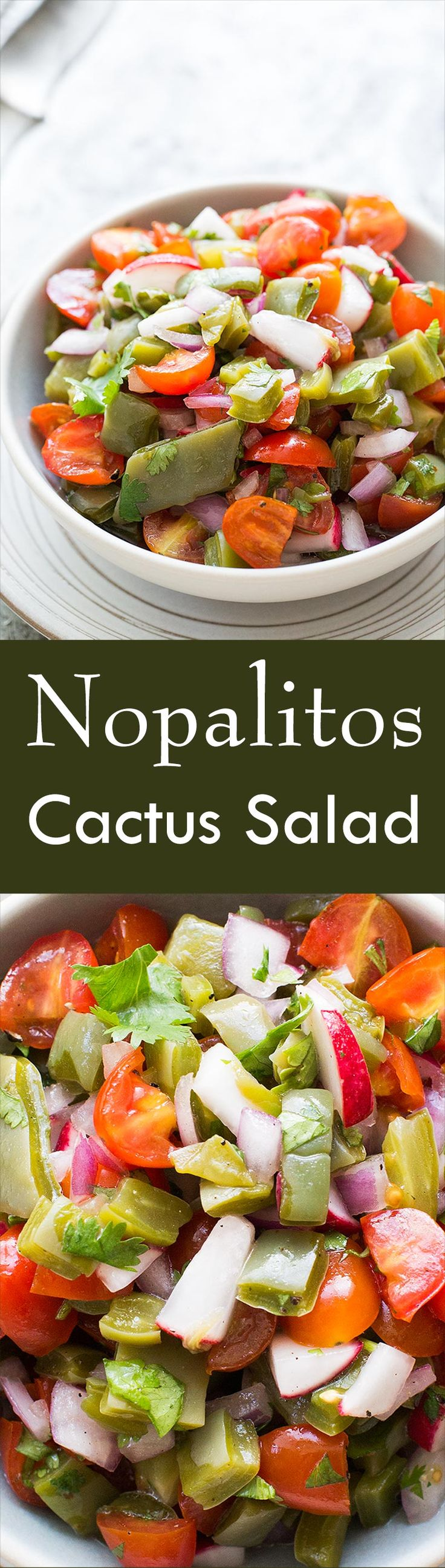 Ever eat cactus? Nopalitos are so GOOD! This easy, budget-friendly salad is a classic Mexican cactus salad with chopped prickly pear cactus paddles (nopalitos), tomatoes, onions, and radishes. On SimplyRecipes.com