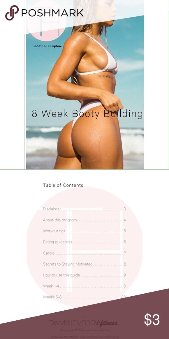 Tammy Hembrow eBook 8 Week Booty Building Program ⚠️READ BEFORE PURCHASING⚠️ I will only accept payment through V.E.N.M.O. (@Gabby-DeRouen) or through P.A.Y.P.A.L. (gabby.derouen@yahoo.com) aka no payment through here!! This is honestly the greatest workout my mom and I have ever done and it really does perfect your body!!! I'm only charging $3 so as soon as you submit the payment how I said above, I'll email you the link!!!! ☺️ Other