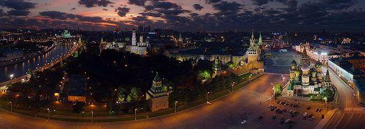 Moscow Kremlin at Night • 360 Degree Aerial Panorama •