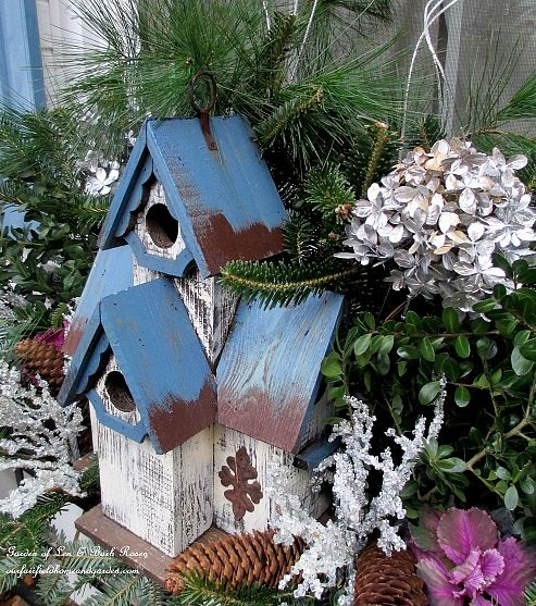 Birdhouse in a winter window box (Garden of Len & Barb Rosen)