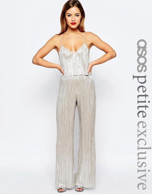 ASOS Petite | ASOS PETITE Metallic Pleat Jumpsuit with Crop Top Layer