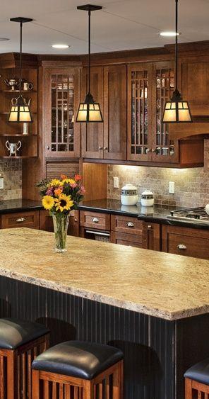 Traditional Craftsman Kitchen Design with Kitchen Island - Dura Supreme Cabinetry designed by Hahka Kitchens.