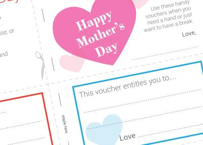 Personalise your Mother's Day present with our free printable voucher book for your mother! You can fill out the vouchers yourself or let mum decide what she'd like to add... #printables #freeprintables #voucherbook #mothersday #mom #mum