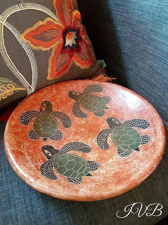 Vintage studio pottery plate with handgraved and hand painted