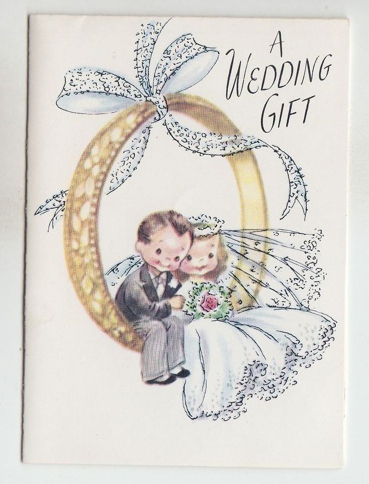 Vintage Bride and Groom Sitting on Ring Wedding Gift Greeting Card