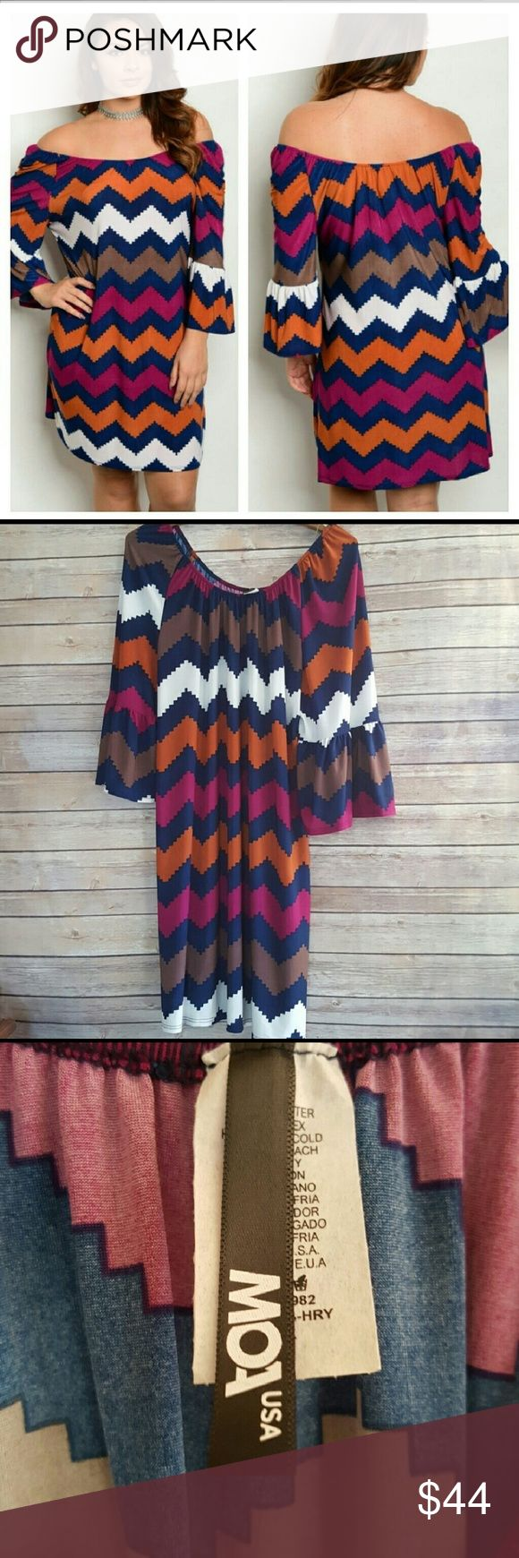 "New Plus Size off Shoulder Chevron Print Dress New without tags Off Shoulder, Chevron printed summer dress 3/4 length sleeve  96% Polyester  4% Spandex  Length approx 37"" Available in plus sizes 1X 2X and 3X Navy Blue, White, Orange, Purple/Fuchsia, Brown Made in the USA   Color patterns vary by dress, may not be identical to stock photograph. MOA USA Dresses Mini"