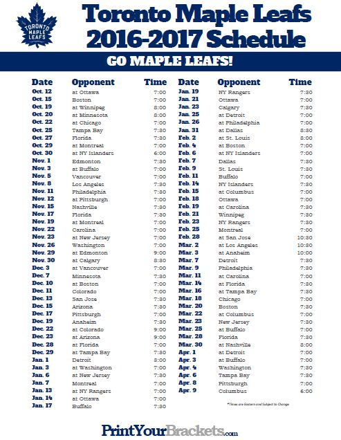 2016-2017 Toronto Maple Leafs Schedule
