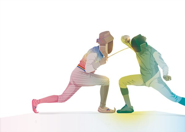 Esgrima.. con mucho color!  Dance by Paul Virlan, via Behance