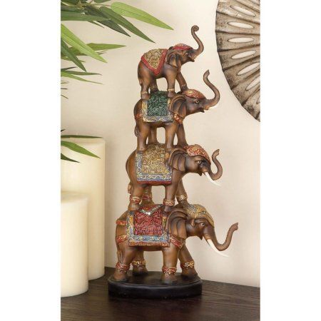 Tremendous Decmode Polystone Stacked Elephant Multi Color Multicolor Complete Home Design Collection Barbaintelli Responsecom