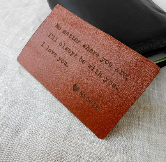 Wallet Insert Card, Personalized Leather Wallet Insert Card, 3rd Leather Anniversary Gift, Mens Gift