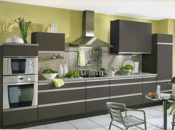 Grey kitchen with painted green wall future abode - Grey kitchen design pictures ...