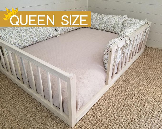 Twin Or Full Size Montessori Floor Bed To Raised Bed Frame Convertible With Rails Full Floor Bed Hardwood 4 Railing Legs Slats In 2020 Toddler Floor Bed Floor Bed Floor Bed Frame