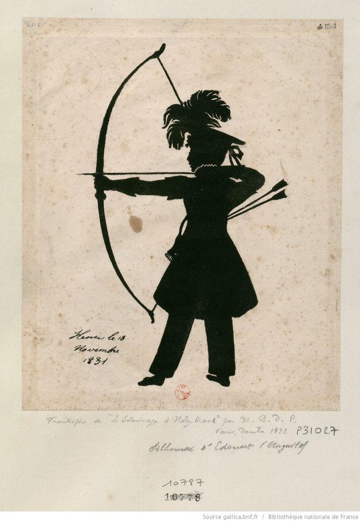 Fac-simile d'une silhouette en ombre chinoise : le duc de Bordeaux tirant à l'arc, de profil à g. : [estampe]