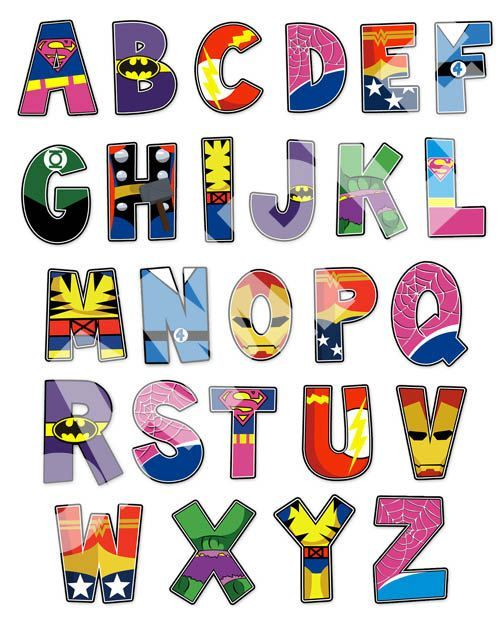 Superhero Alphabet poster 16x20 and letter pack por RKRcreations