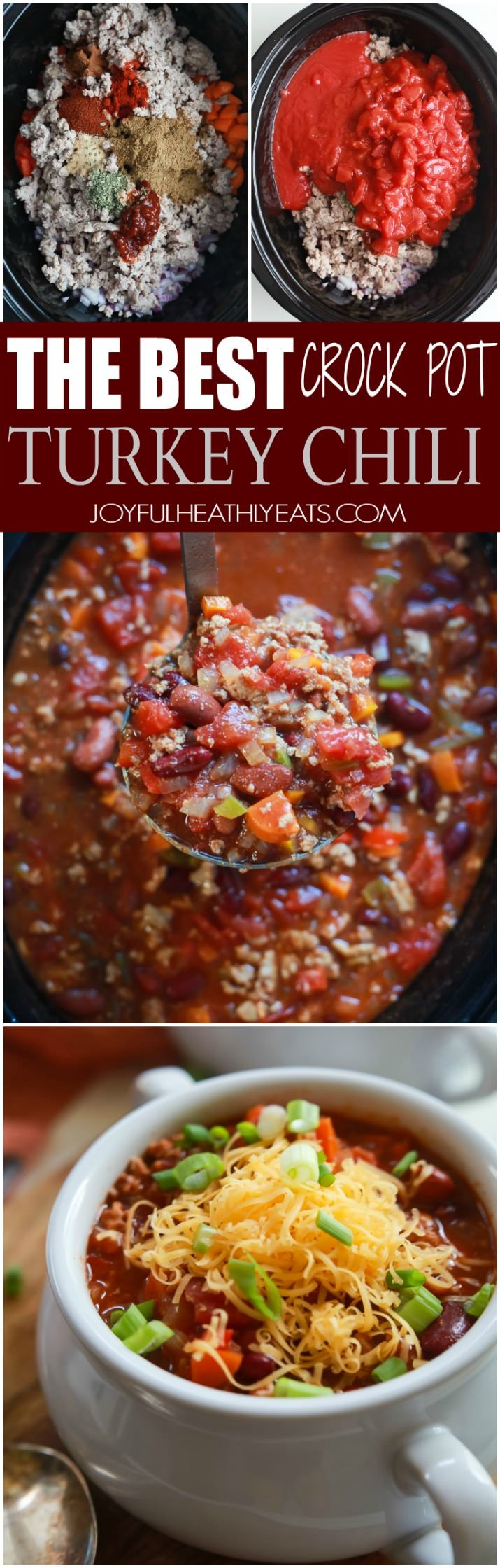 The BEST Crock Pot Chili you'll ever make and under 300 calories a serving! Plus it has a surprise spice you would've never thought to add. This Chili Recipe will blow your mom's out of the water ... sorry mom! |joyfulhealthyeats.com