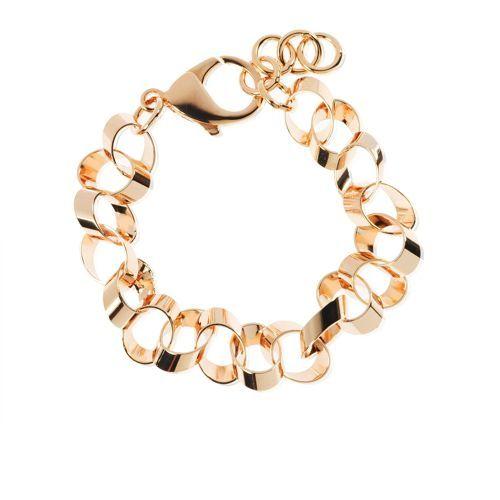 Bronzallure Bracciale placcato oro rosa con maglia ad anelli ovali - QVC Italia