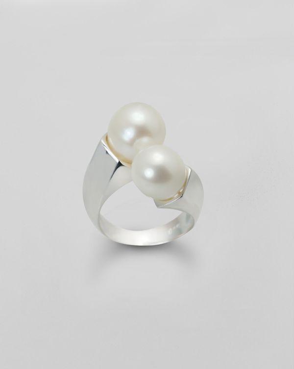 Anillo de Plata de Ley 2 perlas naturales