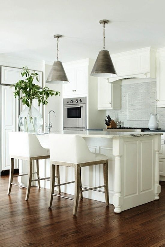 A Sunny Bright Kitchen The All White Cabinets And Light Marble Enhance