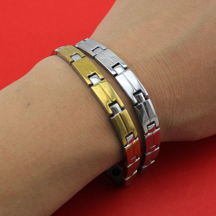 2017 New Hot Selling Fashion Gold/Silver Women/Men's Power 6 Germanium 6 Magnetic Energy 316L Stainless Steel Bracelet TG04147